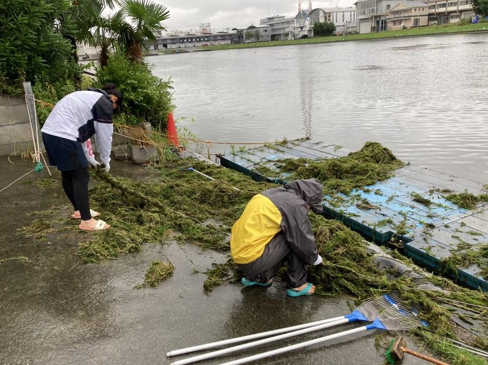 戸田ボートコースの水草除去作業に協力しています!